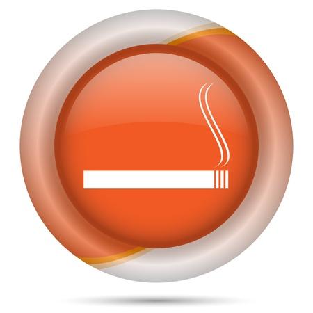 interdiction: Glossy icon with white design on orange plastic background