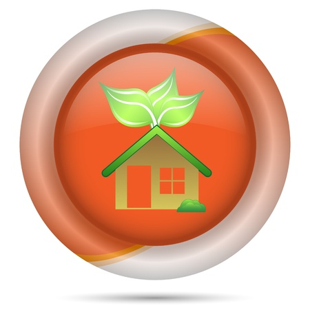 Glossy icon with green and white design on orange plastic background Stock Photo - 21300542