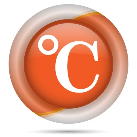 barometer: Glossy icon with white design on orange plastic background