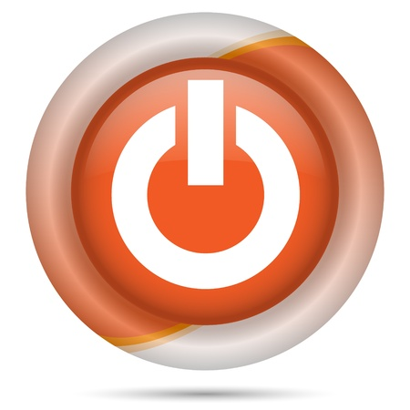 clean off: Glossy icon with white design on orange plastic background