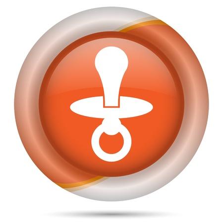 babysitting: Glossy icon with white design on orange plastic background