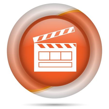 Glossy icon with white design on orange plastic background photo