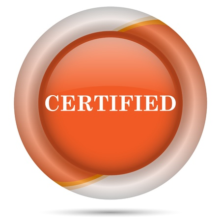 ratification: Glossy icon with white design on orange plastic background
