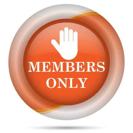 vip area: Glossy icon with white design on orange plastic background