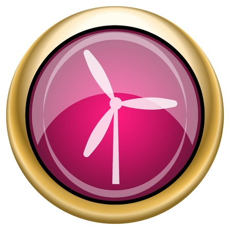windfarm: Shiny glossy icon with white design on magenta and gold background