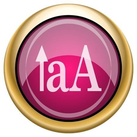 small size: Shiny glossy icon with white design on magenta and gold background