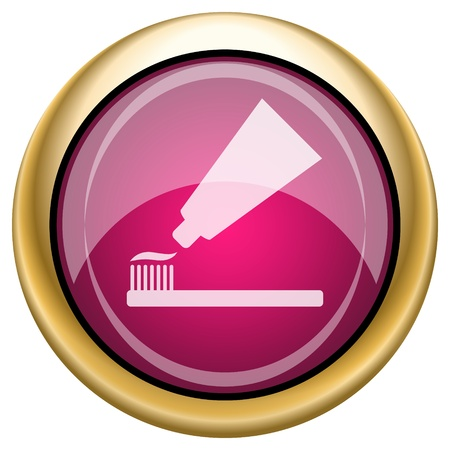fluoride toothpaste: Shiny glossy icon with white design on magenta and gold background