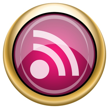 extensible: Shiny glossy icon with white design on magenta and gold background