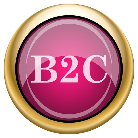 Shiny glossy icon with white design on magenta and gold background Stock Photo - 21335006