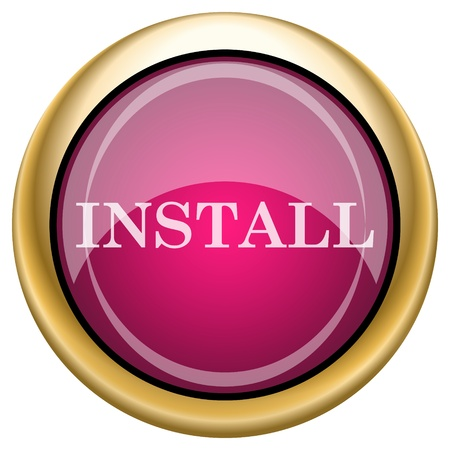 operative system: Shiny glossy icon with white design on magenta and gold background