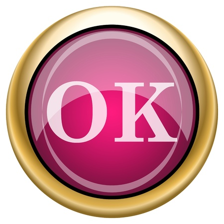Shiny glossy icon with white design on magenta and gold background Stock Photo - 21335015