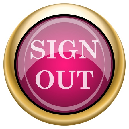 log off: Shiny glossy icon with white design on magenta and gold background