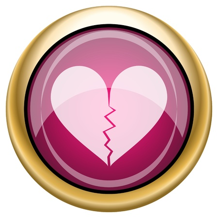 Shiny glossy icon with white design on magenta and gold background photo