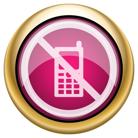 no cell phone: Shiny glossy icon with white design on magenta and gold background