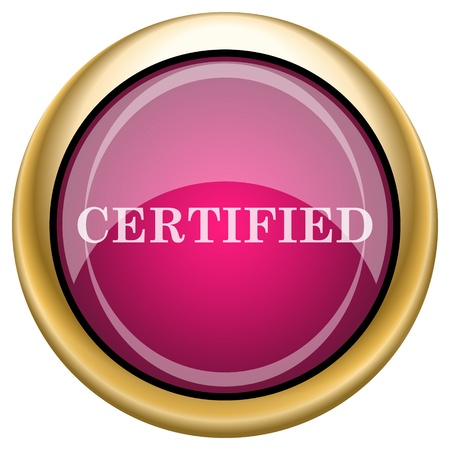 ratification: Shiny glossy icon with white design on magenta and gold background