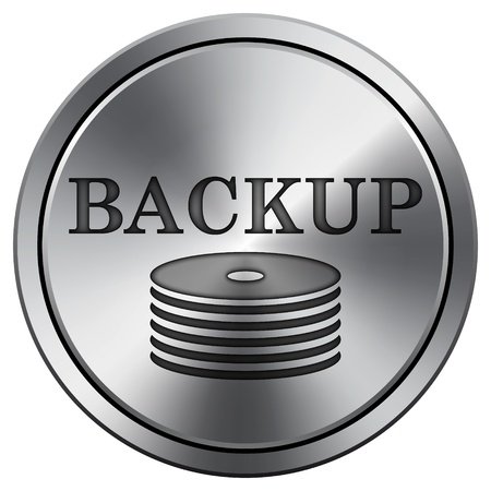 archiving: Metallic icon with carved design Stock Photo