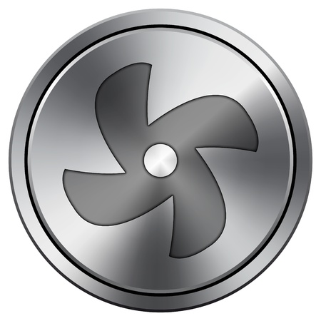 conditioned: Metallic icon with carved design Stock Photo