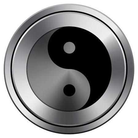 yinyang: Metallic icon with carved design Stock Photo