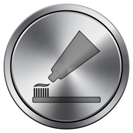 toothbrushing: Metallic icon with carved design Stock Photo