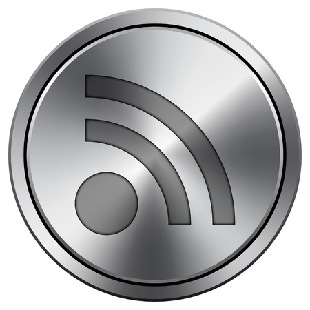 syndication: Metallic icon with carved design Stock Photo