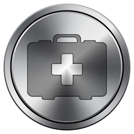 first aid kit key: Metallic icon with carved design Stock Photo
