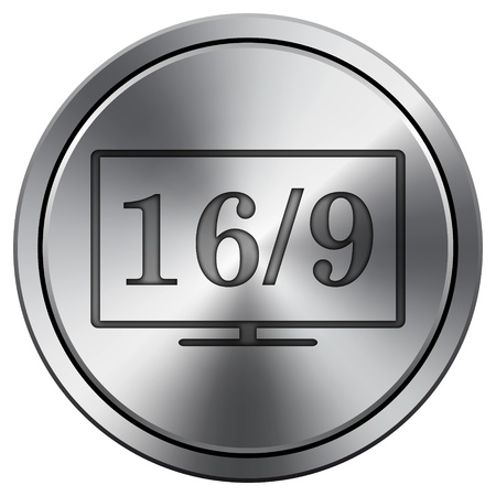 16 9 display: Metallic icon with carved design Stock Photo