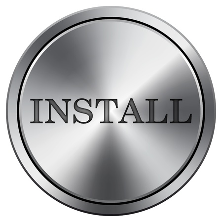 install: Metallic icon with carved design Stock Photo