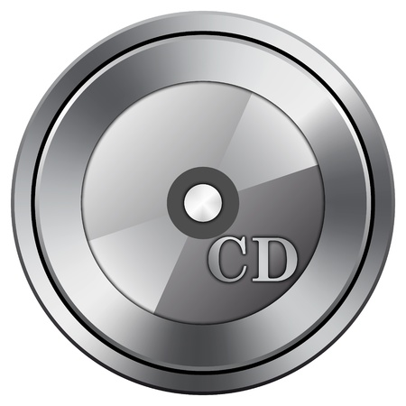 compact disk: Metallic icon with carved design Stock Photo