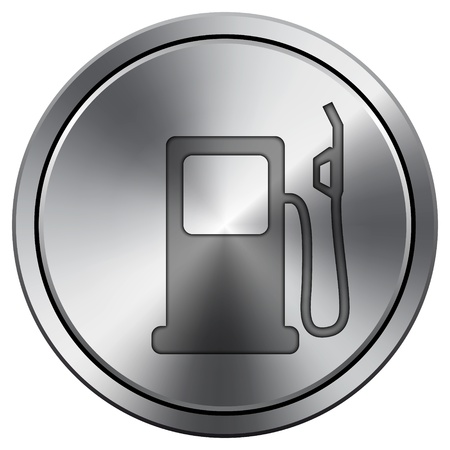 Metallic icon with carved design Stock Photo