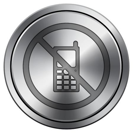 refrain: Metallic icon with carved design Stock Photo