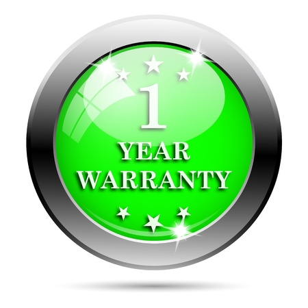 one year warranty: Metallic round glossy icon with white design on green background