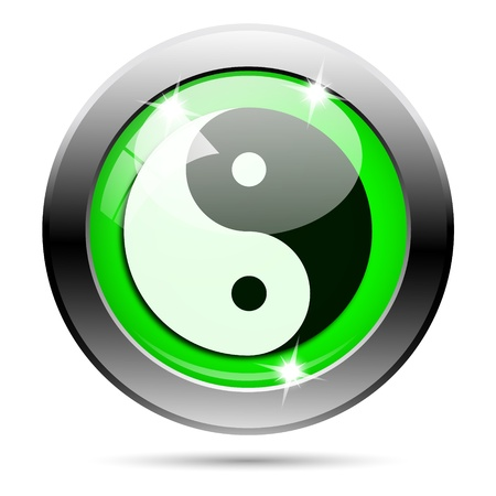 karma design: Metallic round glossy icon with white design on green background