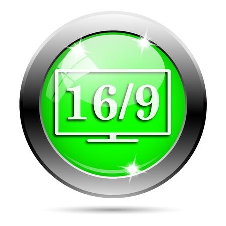 16 9 display: Metallic round glossy icon with white design on green background