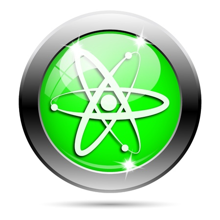 gamma: Metallic round glossy icon with white design on green background