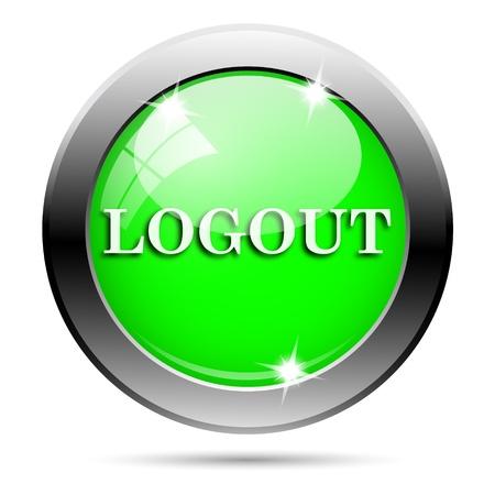 Metallic round glossy icon with white design on green background photo