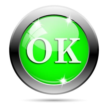 Metallic round glossy icon with white design on green background Stock Photo - 21940461