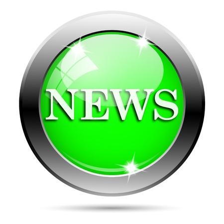 Metallic round glossy icon with white design on green background Stock Photo - 21940473