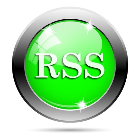 syndication: Metallic round glossy icon with white design on green background