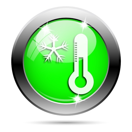 celsius: Metallic round glossy icon with white design on green background