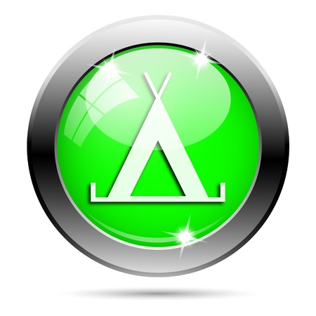 3d bungalow: Metallic round glossy icon with white design on green background