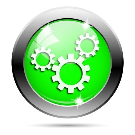 Metallic ronde glanzende pictogram met wit ontwerp op groene achtergrond Stockfoto