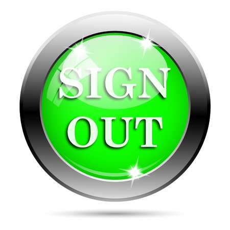 log off: Metallic round glossy icon with white design on green background
