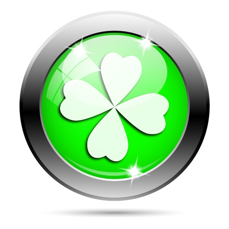 Metallic round glossy icon with white design on green background photo
