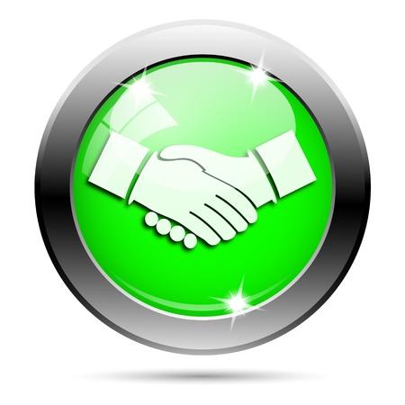 Metallic round glossy icon with white design on green background Stock Photo - 21940923