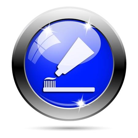 Metallic ronde glanzende pictogram met wit ontwerp op een blauwe achtergrond Stockfoto