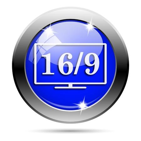 16 9 display: Metallic round glossy icon with white design on blue background Stock Photo