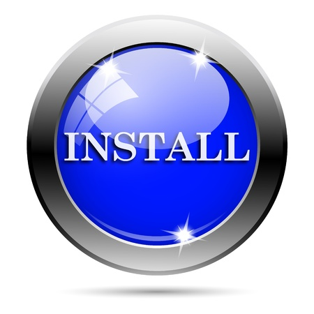 operative system: Metallic round glossy icon with white design on blue background Stock Photo