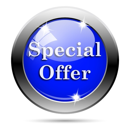 special offer: Metallic round glossy icon with white design on blue background Stock Photo