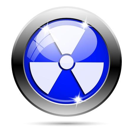 plutonium: Metallic round glossy icon with white design on blue background Stock Photo