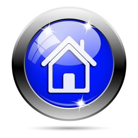 Metallic round glossy icon with white design on blue background photo